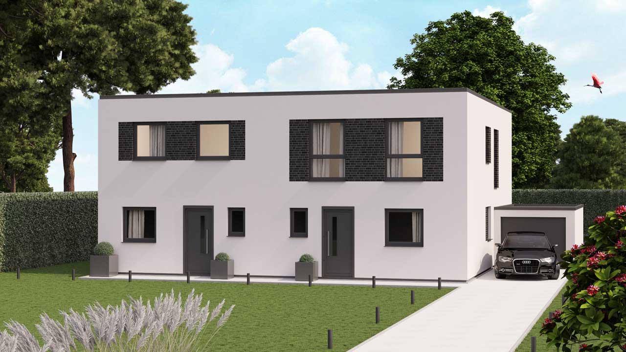 Doppelhaus Typ Merkstein Flachdach