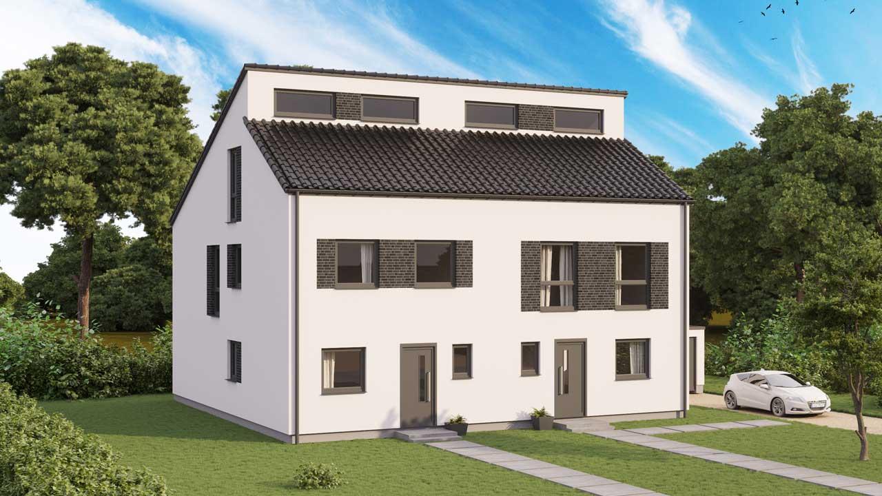 Doppelhaus Typ Merkstein Pultdach